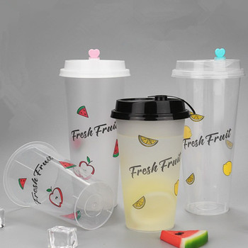 50pcs Creative fruit juice cup party wedding birthday favor cold drink plastic cup 500ml 700ml packaging cups with love lid