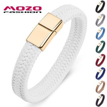 MOZO moda 2020, joyería Punk para hombres, pulsera de cuero trenzada blanca, cierre magnético de acero inoxidable dorado, brazaletes de moda para mujeres 161