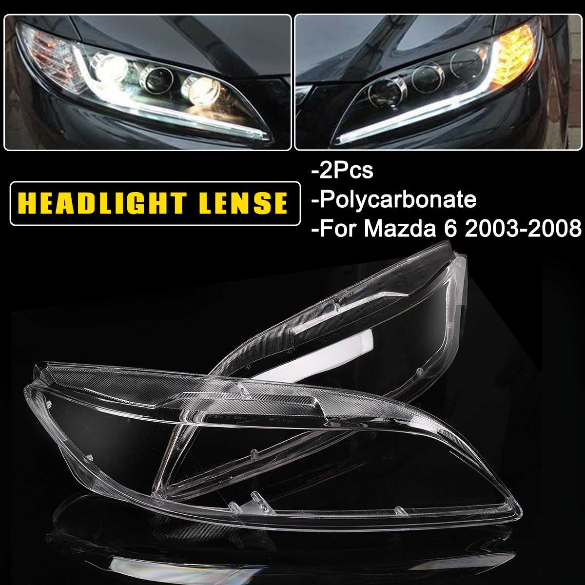 Autoleader 1 Pair For Mazda 6 2003-2008 Car Headlight Headlamp Plastic Clear Shell Lamp Cover Replacement  Lens Cover 60cmx6cm
