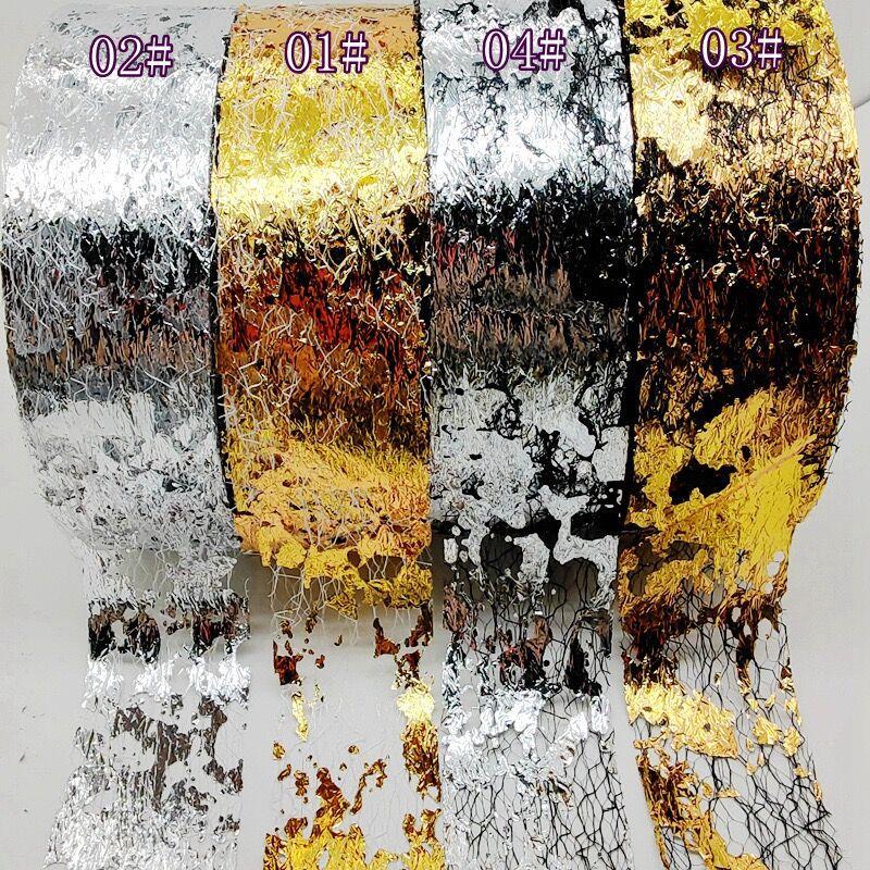 1 rolo 90m ouro prata malha prego folhas linha liquida de aluminio brilho transferencia adesivo folhas
