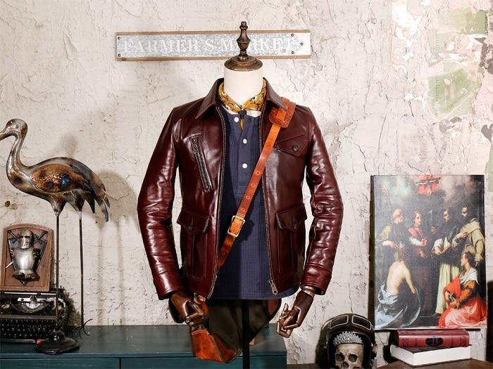 2020 Free Shipping.Top US Vintage Newsbody 1920's Brazil Tea Core Leather Jacket,genuine Leather Coat,Luxury Cowhide Jackets