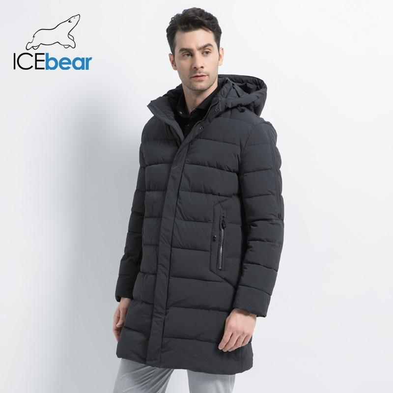 ICEbear 2019 Winter Coat Causal Parkas  Men Hat Detachable Warm Jacket Cotton Padded Winter Jacket Men Clothing MWD18821D