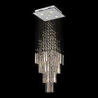 Modern Crystal Chandelier For Living Room Columnar Crystal Hanging Lamp Square Base Light Fixture Staircase Loft Chandeliers