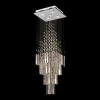 Modern Crystal Chandelier For Living Room Columnar Crystal Hanging Lamp Square Base Light Fixture Staircase Loft Chandeliers
