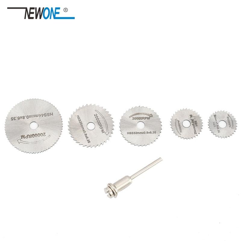 6pcs/Set HSS Mini Circular Saw Blade Woodworking Cutting Discs Drill For Rotary Tools Dremel Metal Cutter Power Tool Mandrel Set