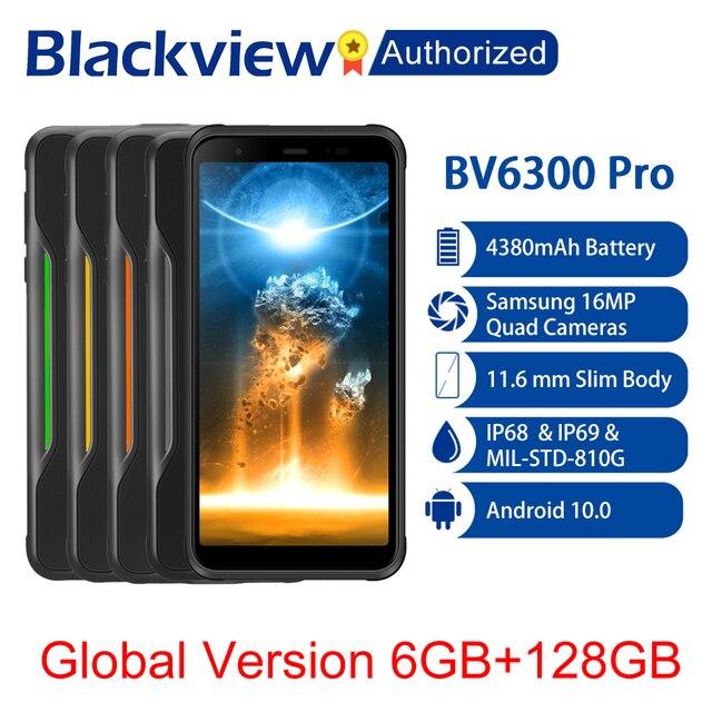 BLACKVIEW BV6300 Pro IP68 Waterproof Rugged Phone Helio P70 6GB+128GB Smartphone 4380mAh Android 10.0 Mobile Phone 4 Rear Camera