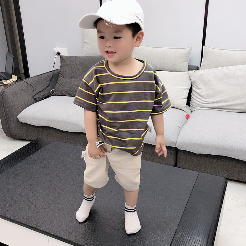 Boy Baby Clothes 2021 New Summer Toddler Set Striped T-shirt + Shorts Cotton Children Clothing Short Sleeve Outfit 1 2 3 4 Years 4