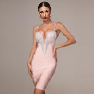 Image 3 - 2020 herbst Neue frauen Mode Sexy Verband Kleid Blau Weiß Rosa Schwarz Spaghetti V ausschnitt Quaste Party Weihnachten Kleid