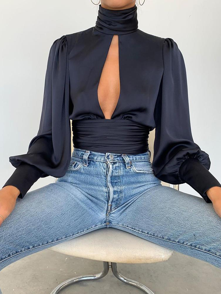 2019 Autumn Women Elegant Fashion Basic Shirt Female Casual Party Sexy Blouse Keyhole Backless Long Lantern Sleeve Top