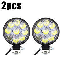 2pcs New 27W 9-LED Car Light high brightness Off-Road Round Aluminum Alloy + PMMA Work For Truck ATV Vehicle