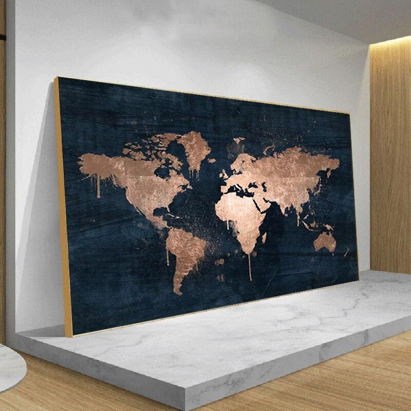 Современная Карта городов мира Плакаты и принтами розового золота картина на стену, полотно, Декоративная Настенная картина без рамки для Г...