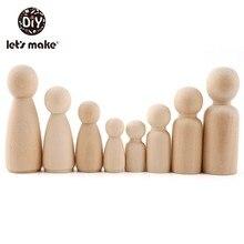 40pc 35mm, 55mm,65mm Holz Peg Puppen Handgemachte Gemalt Puppen Kinder Geburtstag Geschenke Zimmer Decor Holz DIY Handwerk Unfinished Peg Puppe