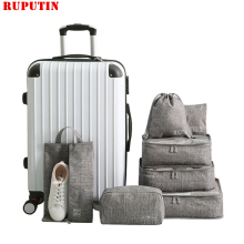 Cation 7PCS/Set Travel Bags Multi-function Clothing Underwear Cosmetic Data Finishing Storage Bag Luggage Organizer Packing Cube