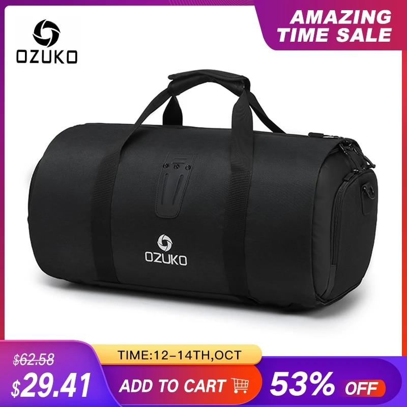 OZUKO многофункциональная Большая вместительная мужская дорожная сумка, Водонепроницаемая спортивная сумка для путешествий, сумка для хранения ручного багажа с сумкой для обуви