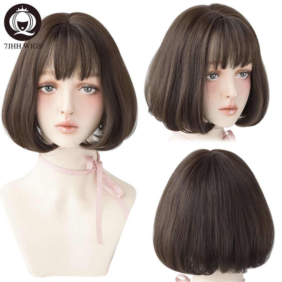 7JHH peruk Lolita kahküllü peruk kadınlar için Omber sarışın kahverengi siyah düz kısa saç yıldız saç parti Cosplay Bob peruk
