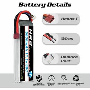 Image 4 - 2pcs HRB 11.1V 5000mah Lipo Battery 3S 50C with T Deans plug for 1/12 1/10 RC car truck Monster RC Boat FPV Drone frame