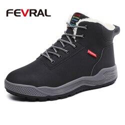 FEVRAL Curto Pelúcia Quente de Inverno dos homens Casuais Sapatos Impermeáveis Fundo Grosso Ankle Boots Botas de Neve Clássicos Dos Homens Macio E Confortável
