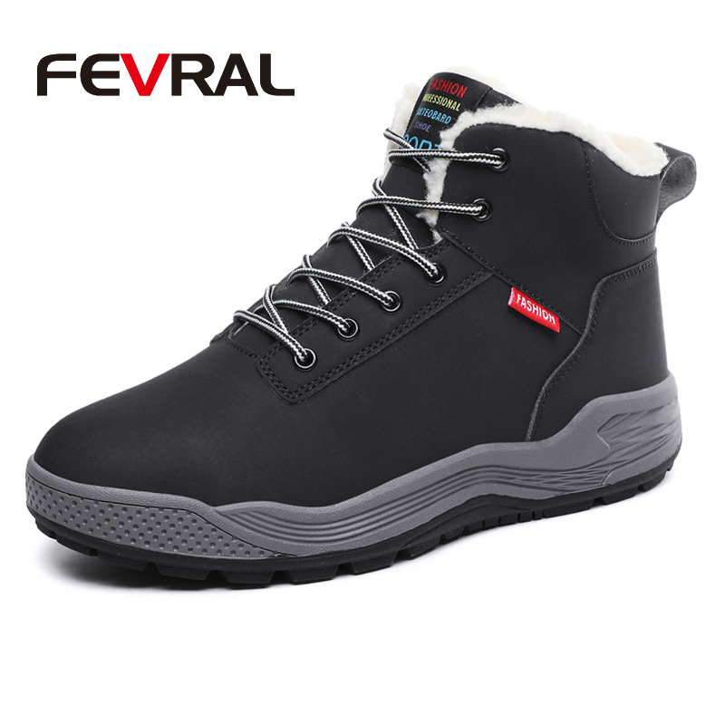FEVRAL Warm Short Plush Men's Winter Casual Shoes Thick Bottom Waterproof Ankle Boots Men Soft Comfortable Classic Snow Boots