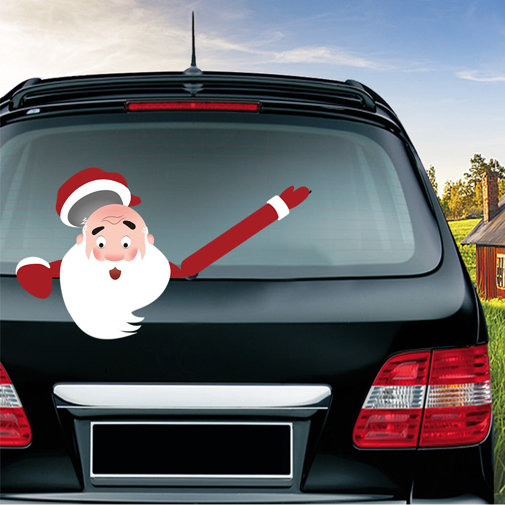 Car Stickers Christmas Decoration Santa Claus 3D PVC Waving Car Stickers Styling Window Wiper Decals Rear Windshield Decoration (11)