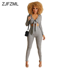 цена на Waist Band Cut Out Sexy Skinny Bodysuit Women Deep V Neck Full Sleeve Party Romper Autumn Bow Tie Up One Piece Bodycon Jumpsuit