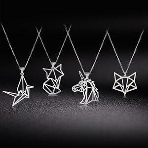 Skyrim Unicorn Fox Crane Pendant Necklace Women Girls Stainless Steel Animal Choker Chain Necklaces Statement Jewelry Gift(China)