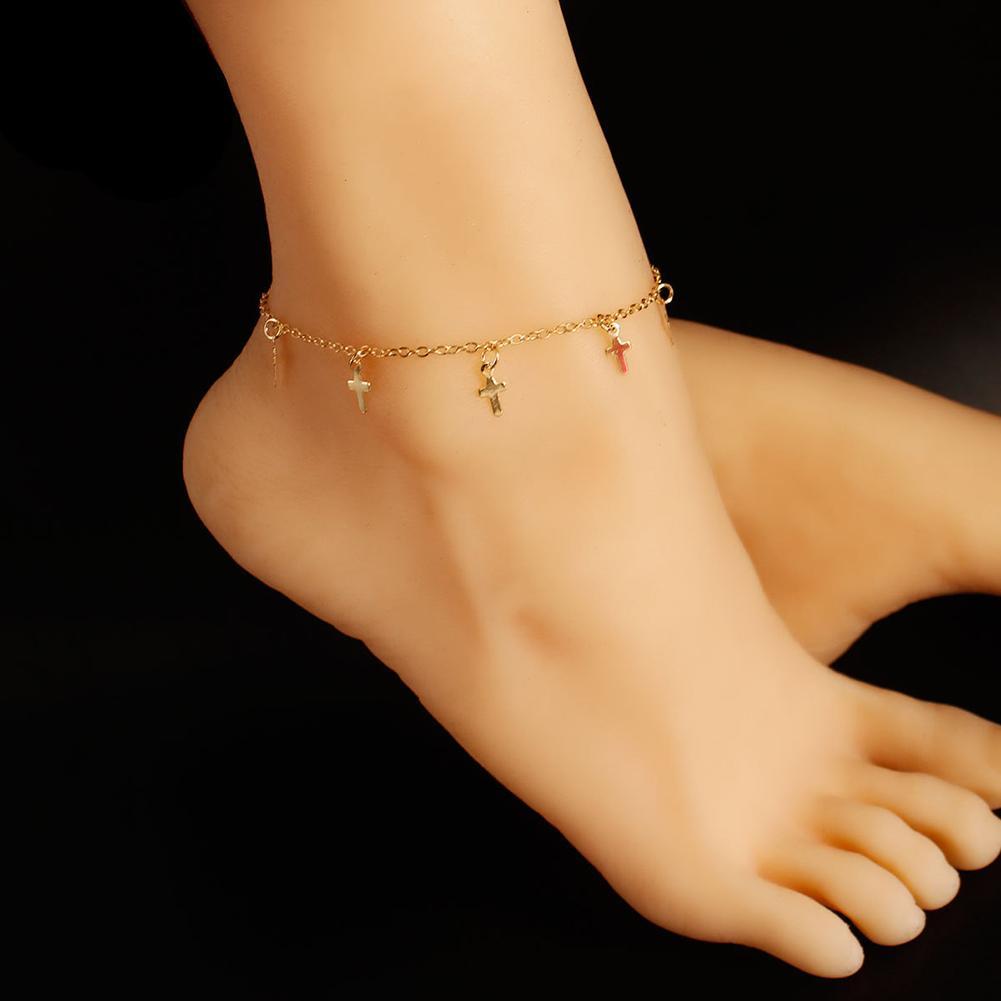 Fashion Women Anklet on the leg Cross Charm Anklet Foot Chain Women Sandal Beach Barefoot Ankle Bracelet Woman's accesories