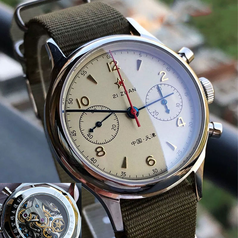 Watch Men Seagull Chronograph Movement Top Brand Fashion Sapphire Acrylic Mechanical Watch Leather Waterproof  Clock Relogio