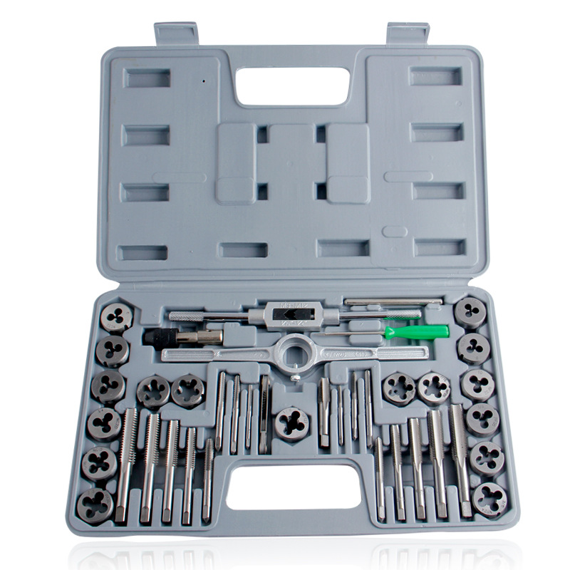 40 Sets Of Inch Taps And Die Sets Round Plate Teeth Hand Precision Alloy Steel Combination High-grade Plastic Packaging Box
