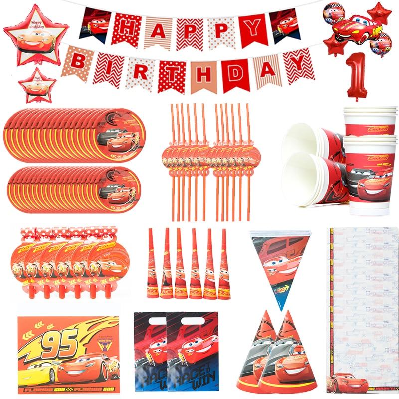 Cars тема одноразовая посуда бумажный стаканчик, тарелка детского дня рождения, одежда на день рождения, Семья поставка украшений для вечерин...