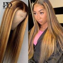 Glueless destaque frente do laço peruca de cabelo humano em linha reta ombre colorido pré arrancado brasileiro remy frontal perucas para a mulher preta