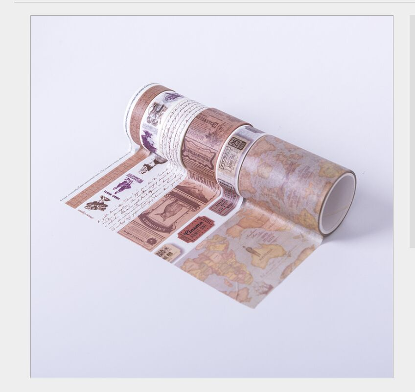 7rolls/pack European Travel Vintage Map Stamp Retro Character Ticket Decoration Washi Tape DIY Planner Scrapbooking Masking Tape