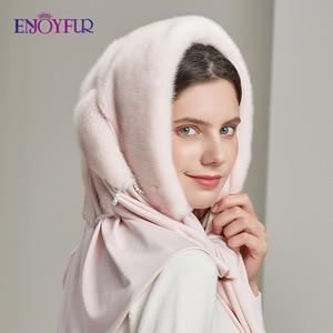 Image 3 - ENJOYFUR gorros de piel de visón genuina para mujer, 100%, bufanda de invierno, sombrero, gorros cálidos elegantes para mujer piel nueva, gorros
