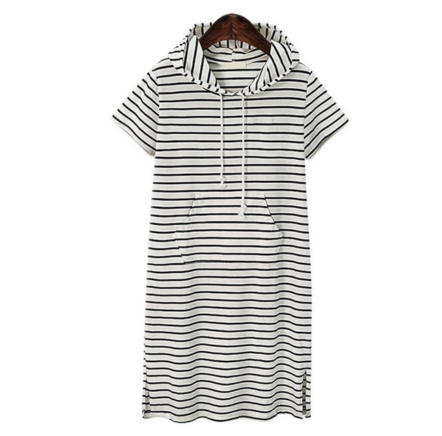 European and American style large size women's striped knit hooded short sleeve long section split dress 2
