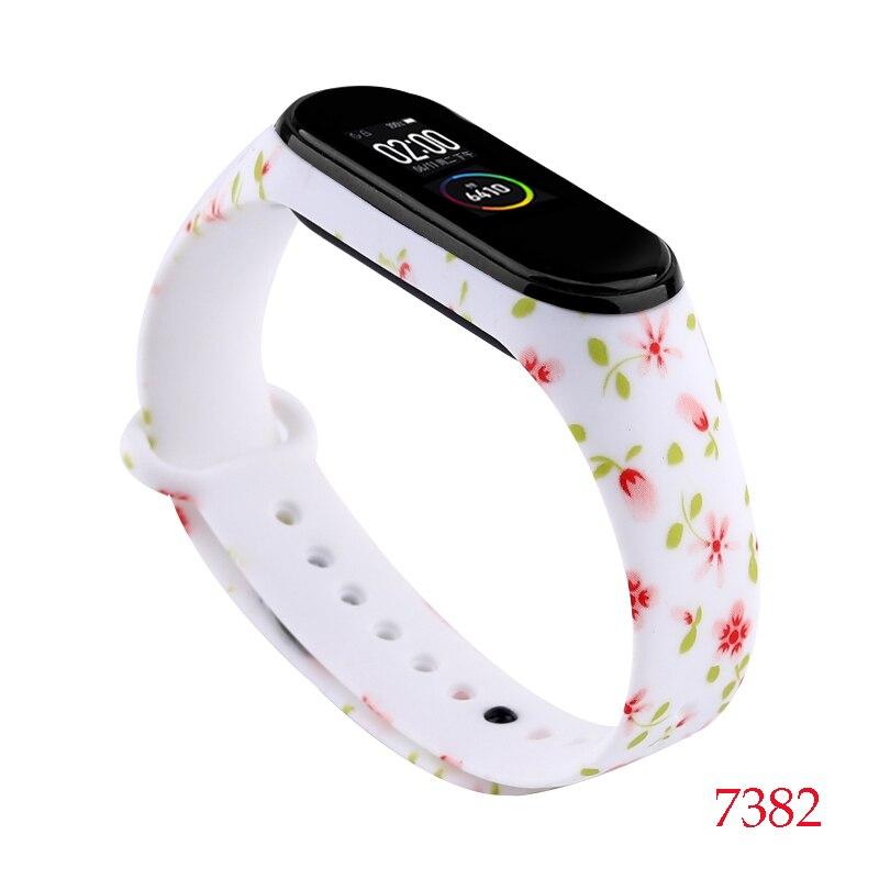 Для Xiaomi Mi Band 4/3 ремешок Металлическая пряжка силиконовый браслет аксессуары miband 3 браслет Miband 4 ремешок для часов М - Цвет: 7382