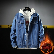 Winter Plus Velvet Thick Denim Jacket Men Warm Fashion Washed Casual Denim Jacket Coat Man Streetwear Hip Hop Bomber Jacket Men initialdream new thick velvet denim jacket outerwear 2019 winter warm women zipper jean jacket coat casual clothing