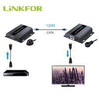 LiNKFOR 1080P HDbitT Ethernet Network Extender over Single RJ45 CAT6/6a/7 Cable Support by Network Routers or Switchers Extender