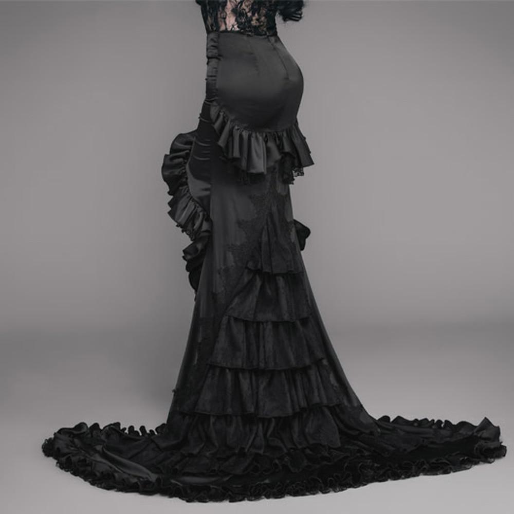Long-Skirt Frilled Black Asymmetry Gothic Women's LADY Tight Gorgeous Floor-Length EVA