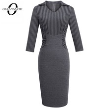 Autumn Strip Casual Workwear Classic Fitted Slim Women Business Office Lady Pencil Dress EB479