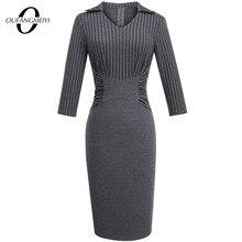 가을 스트립 캐주얼 Workwear 클래식 장착 슬림 여성 비즈니스 사무실 레이디 연필 드레스 EB479