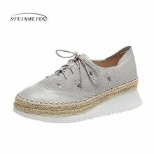 נשים נעליים שטוחות 2020 עור אמיתי תחרה עד דירות פלטפורמת נעלי גבירותיי קיץ אישה גלדיאטור שטוח גומי בלעדי נעליים