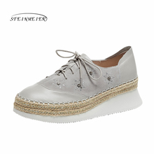 Women flat shoes 2020 genuine leather lace up flats platform brogues ladies summer woman gladiator flat rubber sole shoes
