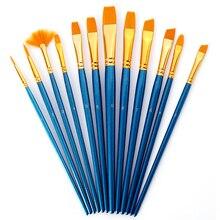 Hair-Paint-Brush-Set Pen Oil-Paint Watercolor Gouache Artist Round Nylon Blue-Bar 12pcs