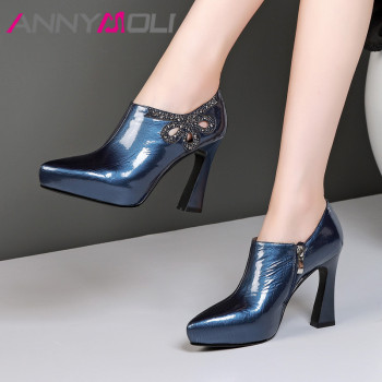 ANNYMOLI High Heels Women Pumps Natural Genuine Leather Block High Heel Shoes Real Leather Zipper Pointed Toe Shoes Female 34-39