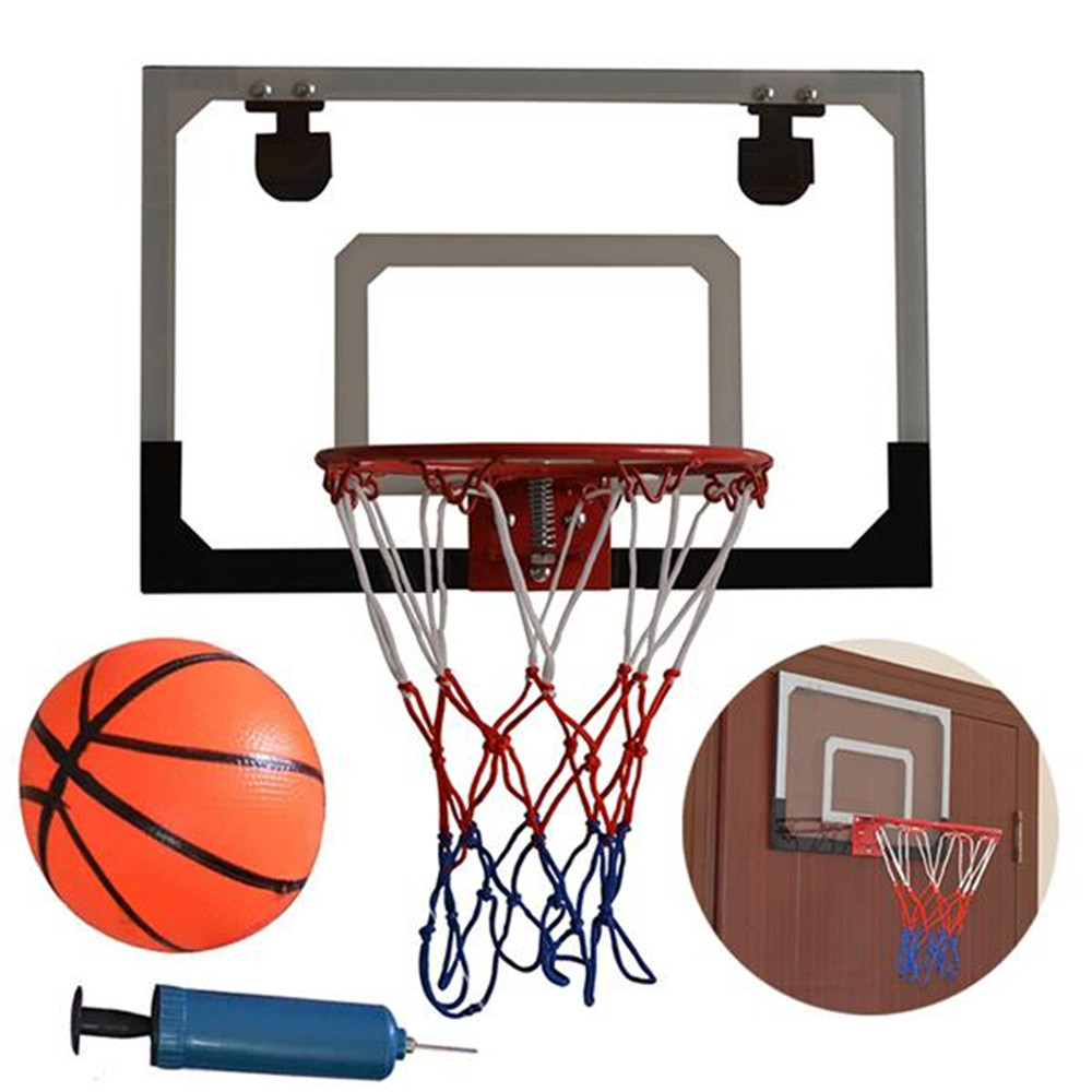 Ship From US 45 X 30cm Backboard Indoor Mini Basketball System Backboard Hoop Kit Door Wall Mounted Kids Toy Set  With Pump