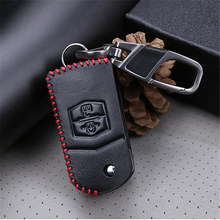 Genuine Leather Car Key Holder Key Case Cover For Mazda 2 3 Axela 6 CX5 CX7 CX2 CX9 MX5 2018 2019 2020 Key Ring Accessories(China)