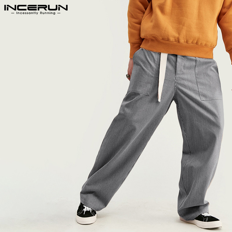 INCERUN 2020 Summer Mens Casual Baggy Pants Man Cotton Comfortable Blue Streak Trousers Male Straight Loose Belt Bottoms 5XL