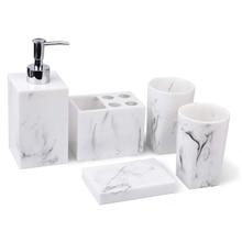 Набор аксессуаров для ванной комнаты из 5 предметов-диспенсер для жидкого мыла или лосьона, мыльница, держатель для зубных щеток и 2 стакана, м