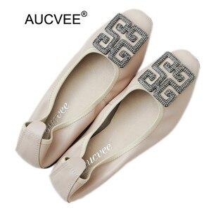 Koreański balet płaskie buty damskie płytkie usta niski obcas buty wsuwane kobieta Rhinestone prawdziwej skóry baleriny buty damskie