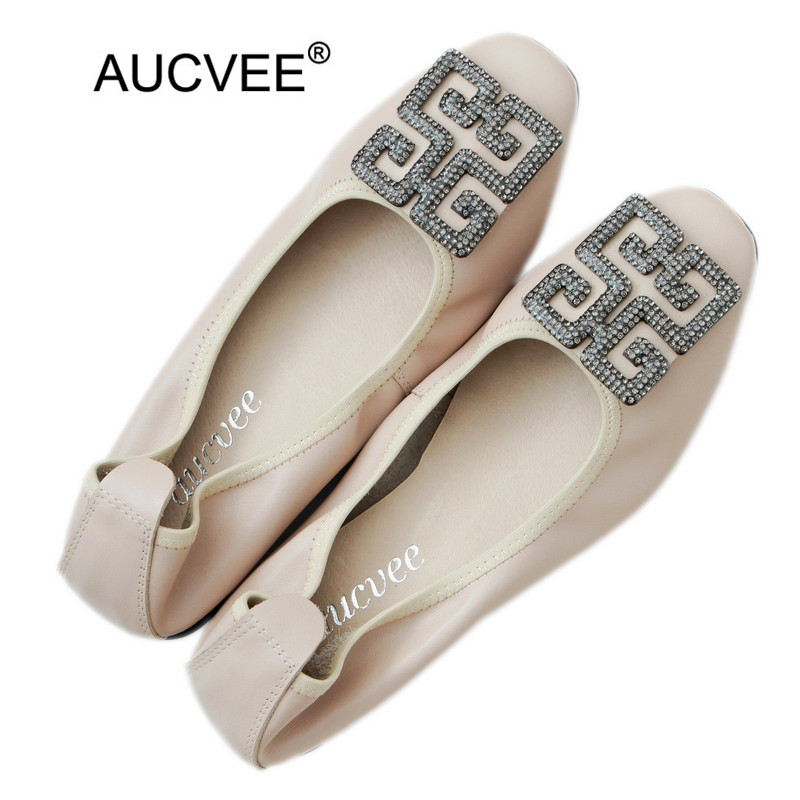 Korean Ballet Flat Women's Shoes Shallow Mouth Low Heel Loafers Shoes Woman Rhinestone Genuine Leather Ballerinas Ladies Shoes