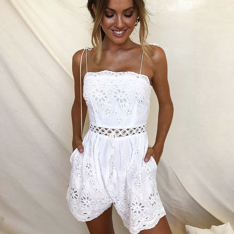 Sexy Playsuit Summer Short Casual Hollow Out Floral Jumpsuit Rompers Boho Backless Tied Strap White Embroidery Overalls Women